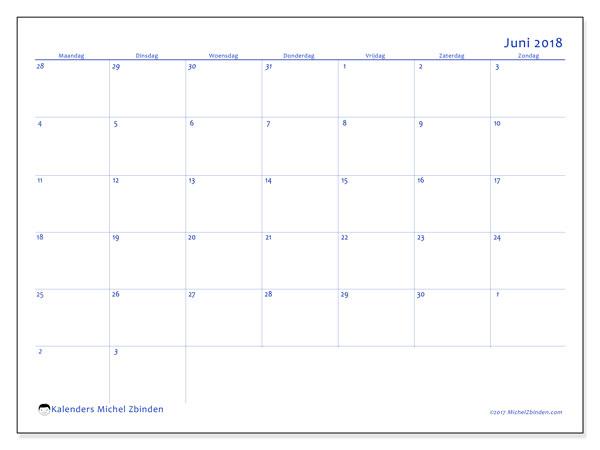 Kalender juni 2018 (73MZ). Kalender voor de maand die gratis moet worden afgedrukt.
