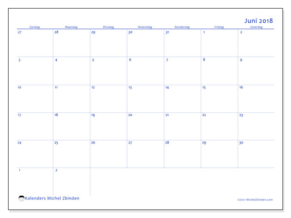 Kalender juni 2018 (73ZZ). Agenda om gratis te printen.