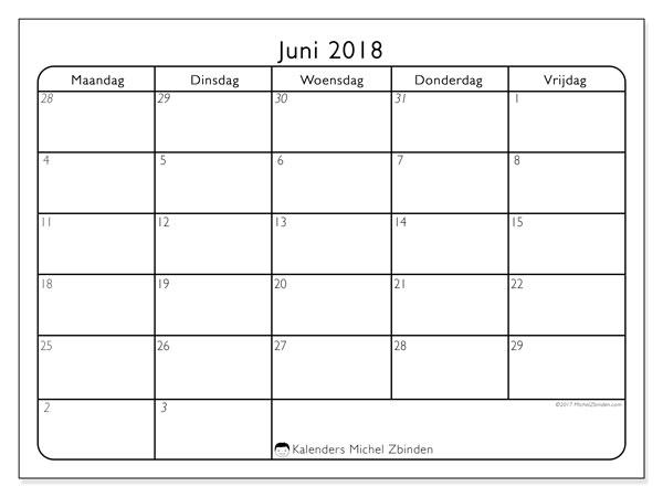 Kalender juni 2018 (74MV). Kalender om gratis af te drukken.