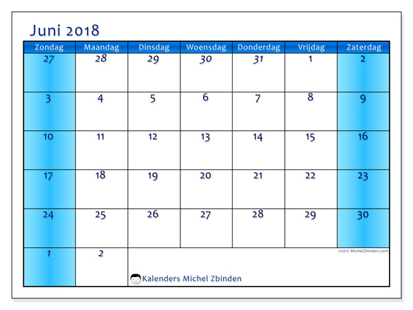 Kalender juni 2018 (75ZZ). Kalender om gratis te printen.