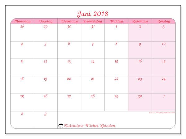 Kalender juni 2018 (76MZ). Schema om gratis te printen.