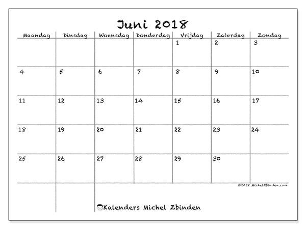 Kalender juni 2018 (77MZ). Schema om gratis te printen.