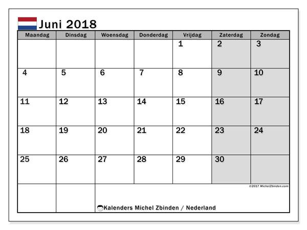 Kalender juni 2018 met de feestdagen van Nederland. Gratis kalender om af te drukken.