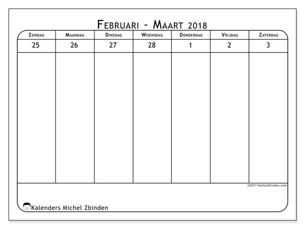 Kalender maart 2018 (43-1ZZ). Wekelijkse kalender om gratis te printen.