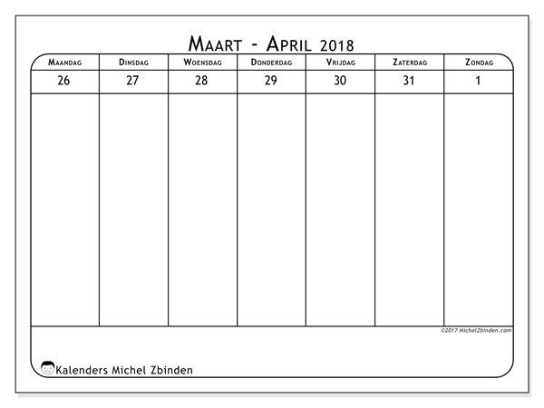 Kalender maart 2018 (43-5MZ). Kalender voor de week om gratis te printen.