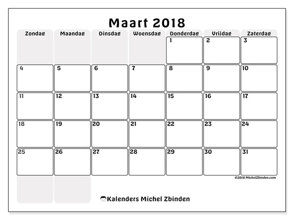Kalender maart 2018 (44ZZ). Kalender om gratis te printen.