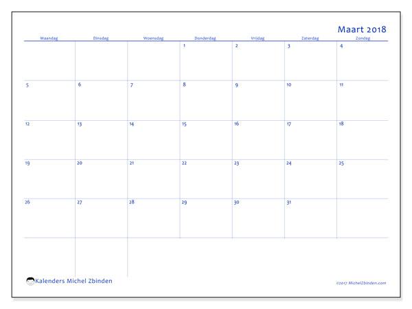 Kalender maart 2018 (55MZ). Maandkalender om gratis te printen.