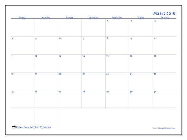 Kalender maart 2018 (55ZZ). Kalender voor de maand die gratis moet worden afgedrukt.