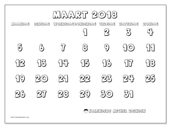 Kalender maart 2018 (56MZ). Kalender om gratis af te drukken.