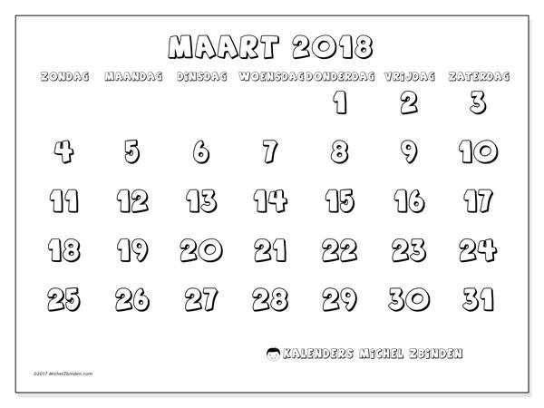 Kalender maart 2018 (56ZZ). Maandkalender om gratis te printen.