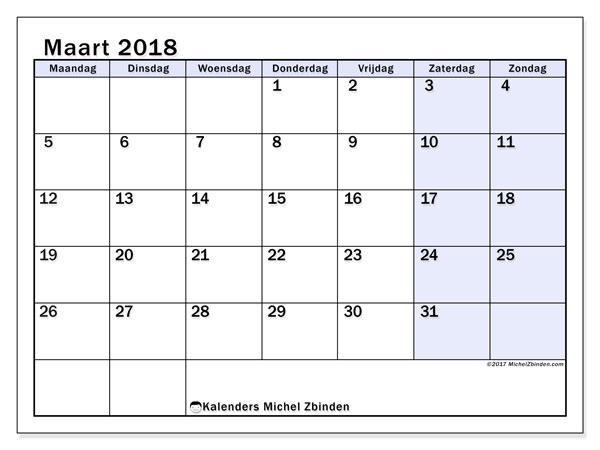 Kalender maart 2018 (57MZ). Kalender voor de maand die gratis moet worden afgedrukt.