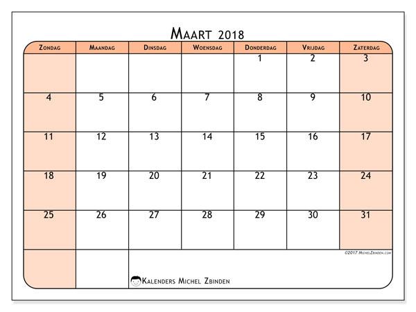 Kalender maart 2018 (61ZZ). Kalender voor de maand die gratis moet worden afgedrukt.