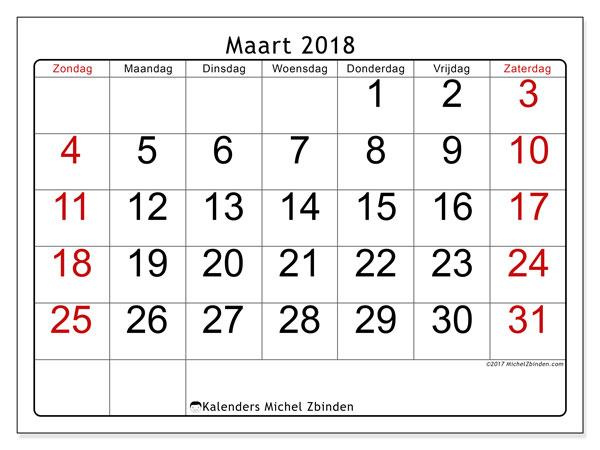 Kalender maart 2018 (62ZZ). Kalender om gratis te printen.