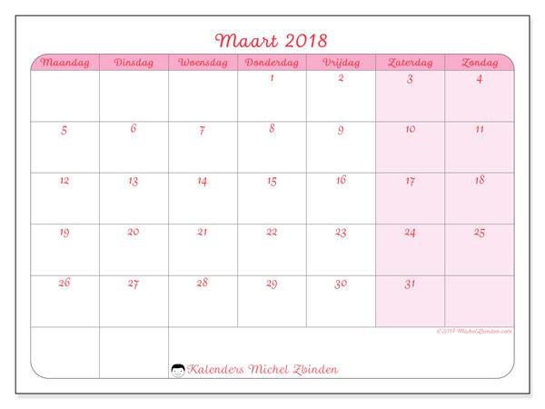 Kalender maart 2018 (63MZ). Schema om gratis te printen.