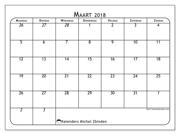 Kalender maart 2018 (67MZ). Schema om gratis te printen.