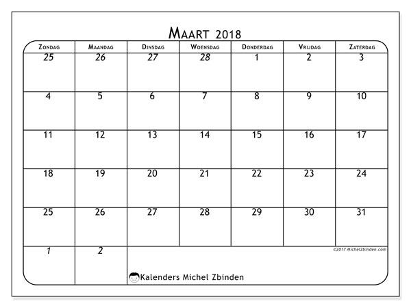 Kalender maart 2018 (67ZZ). Kalender voor de maand die gratis moet worden afgedrukt.