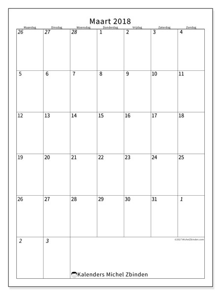 Kalender maart 2018 (68MZ). Kalender om gratis af te drukken.