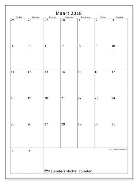 Kalender maart 2018 (68ZZ). Kalender om gratis te printen.