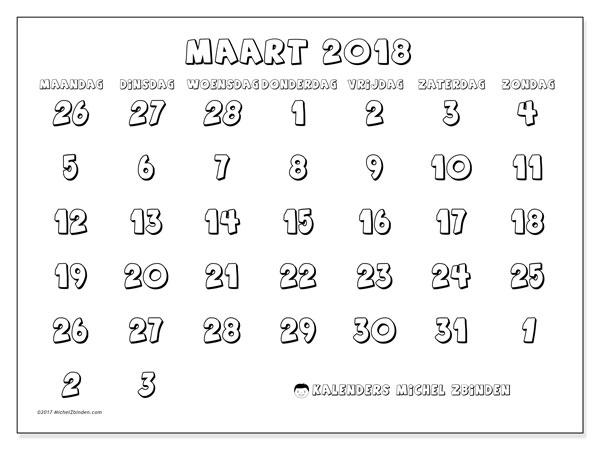 Kalender maart 2018 (71MZ). Gratis kalender om af te drukken.