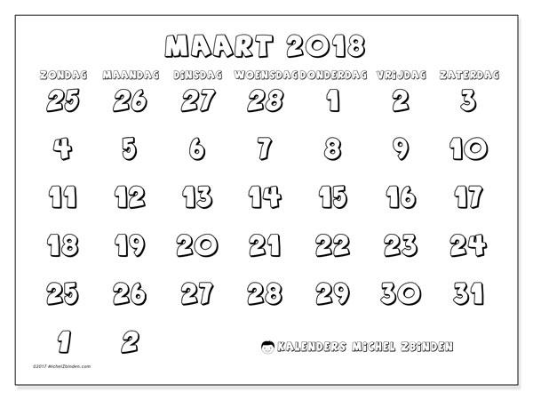 Kalender maart 2018 (71ZZ). Maandkalender om gratis te printen.