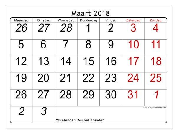 Kalender maart 2018 (72MZ). Kalender voor de maand die gratis moet worden afgedrukt.