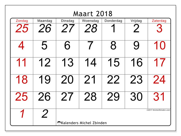 Kalender maart 2018 (72ZZ). Kalender om gratis af te drukken.