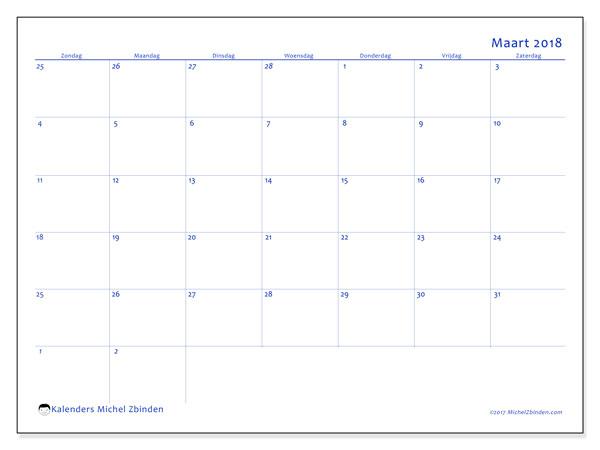 Kalender maart 2018 (73ZZ). Gratis kalender om af te drukken.
