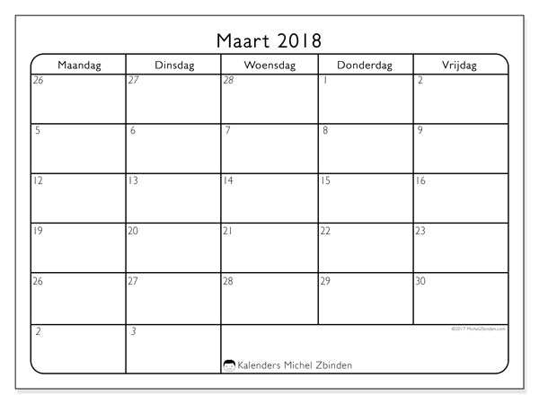 Kalender maart 2018 (74MV). Kalender om gratis te printen.