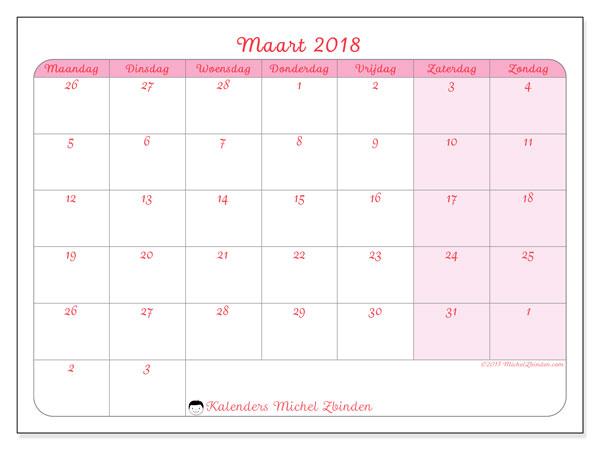 Kalender maart 2018 (76MZ). Gratis afdrukbare kalender.