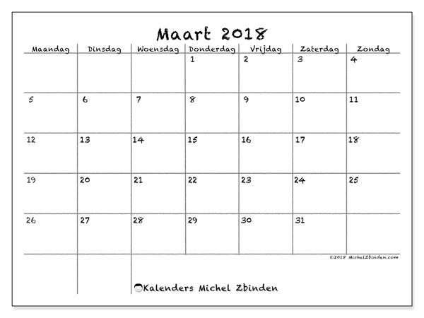 Kalender maart 2018 (77MZ). Gratis afdrukbare kalender.