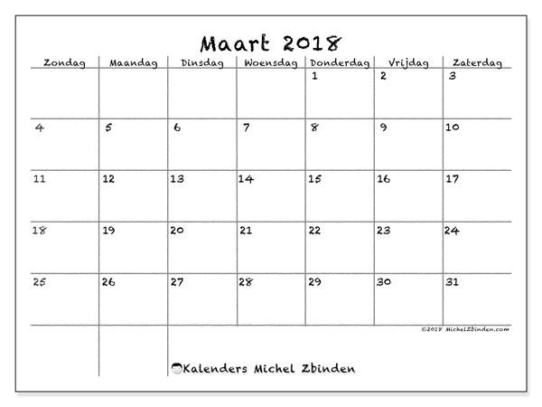 Kalender maart 2018 (77ZZ). Kalender voor de maand die gratis moet worden afgedrukt.