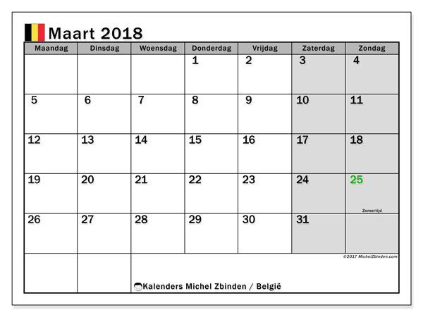 Kalender maart 2018 met de feestdagen van België. Kalender om gratis af te drukken.