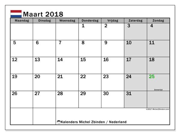 Kalender maart 2018 met de feestdagen van Nederland. Gratis printbare kalender.