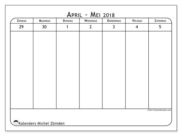 Kalender mei 2018 (43-1ZZ). Agenda om gratis te printen.
