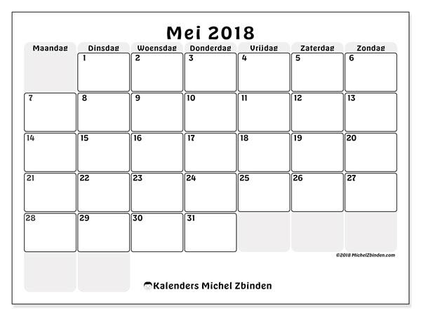 Kalender mei 2018 (44MZ). Maandkalender om gratis te printen.
