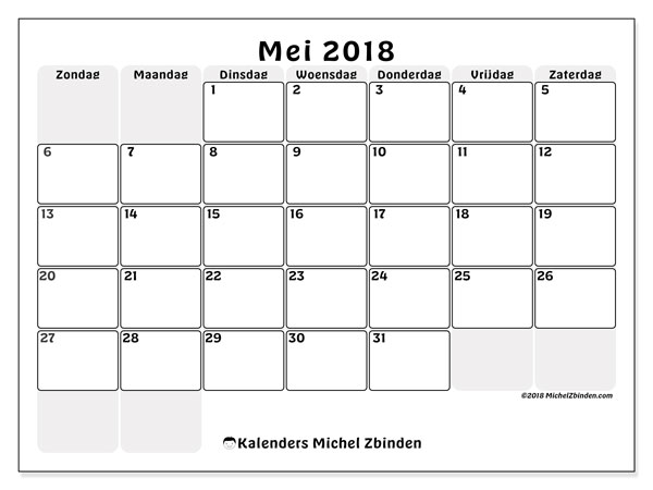 Kalender mei 2018 (44ZZ). Gratis printbare kalender.