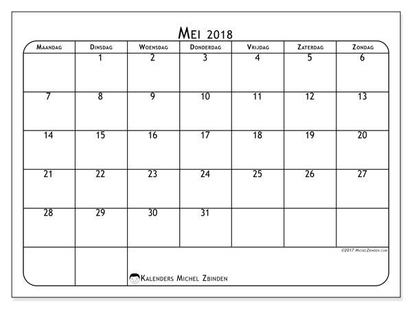 Kalender mei 2018 (51MZ). Kalender om gratis af te drukken.