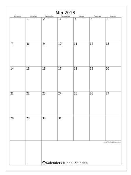 Kalender mei 2018 (52MZ). Gratis kalender om af te drukken.