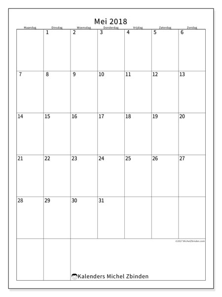 Kalender mei 2018 (52MZ). Agenda om gratis te printen.