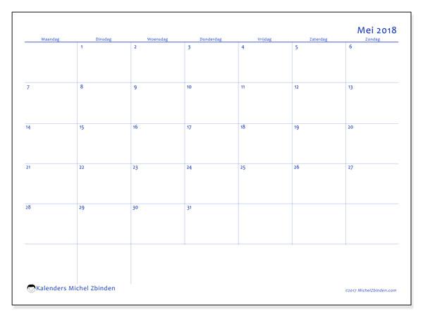 Kalender mei 2018 (55MZ). Kalender voor de maand die gratis moet worden afgedrukt.
