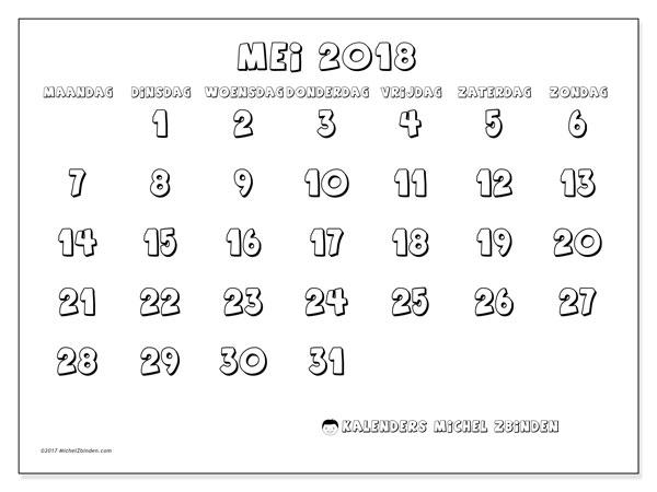 Kalender mei 2018 (56MZ). Kalender om gratis af te drukken.