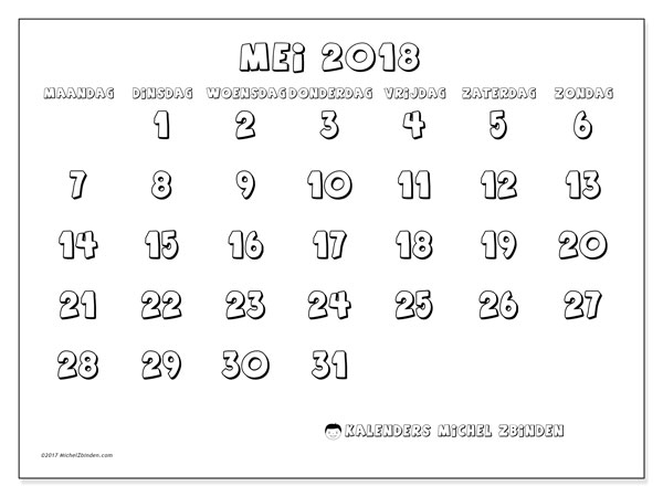 Kalender mei 2018 (56MZ). Agenda om gratis te printen.