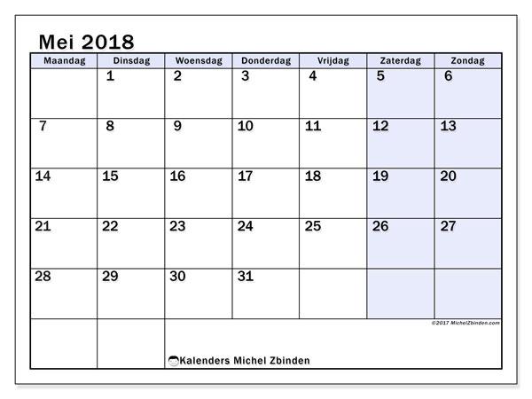 Kalender mei 2018 (57MZ). Kalender om gratis te printen.