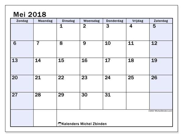 Kalender mei 2018 (57ZZ). Kalender voor de maand die gratis moet worden afgedrukt.