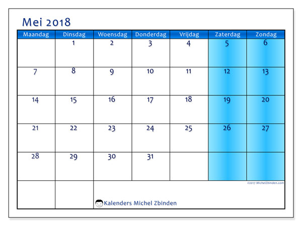 Kalender mei 2018 (58MZ). Agenda om gratis te printen.