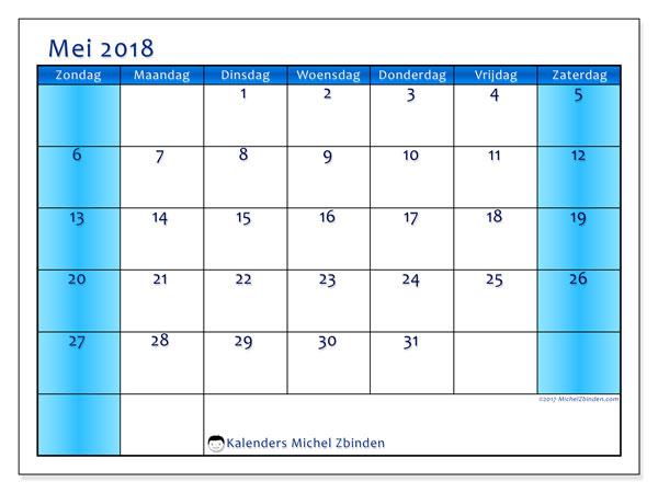 Kalender mei 2018 (58ZZ). Kalender om gratis af te drukken.