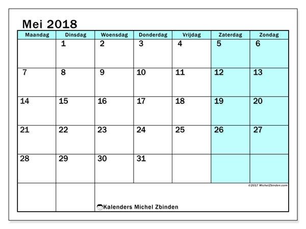 Kalender mei 2018 (59MZ). Kalender om gratis af te drukken.
