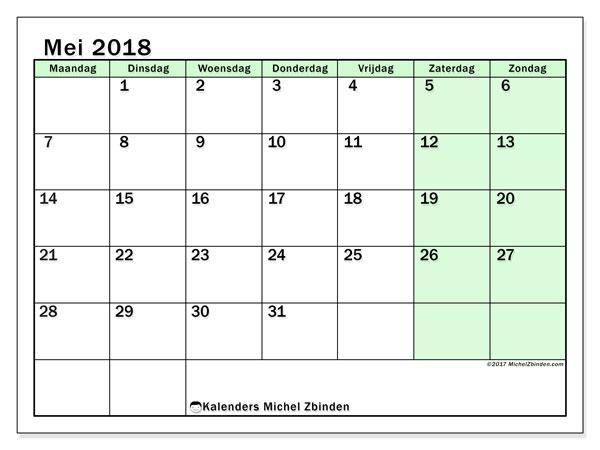 Kalender mei 2018 (60MZ). Schema om gratis te printen.