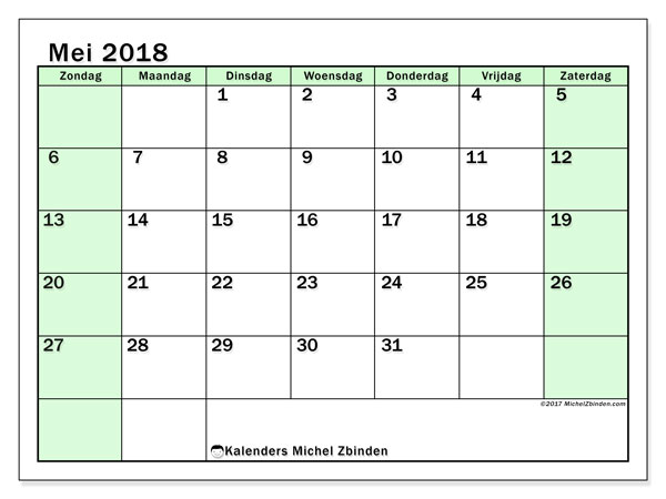 Kalender mei 2018 (60ZZ). Gratis printbare kalender.