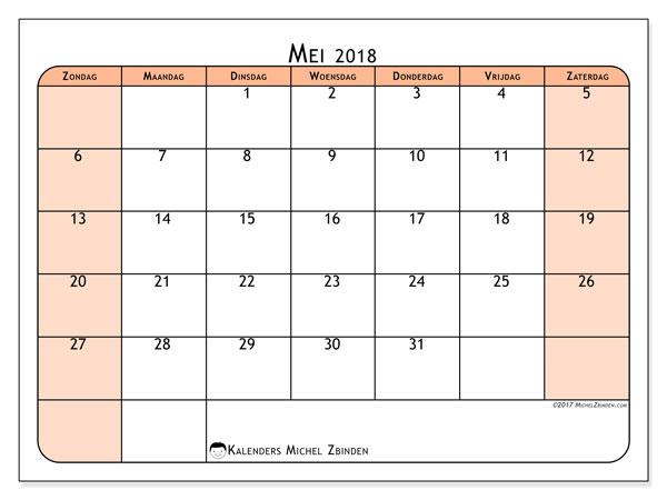 Kalender mei 2018 (61ZZ). Maandkalender om gratis te printen.
